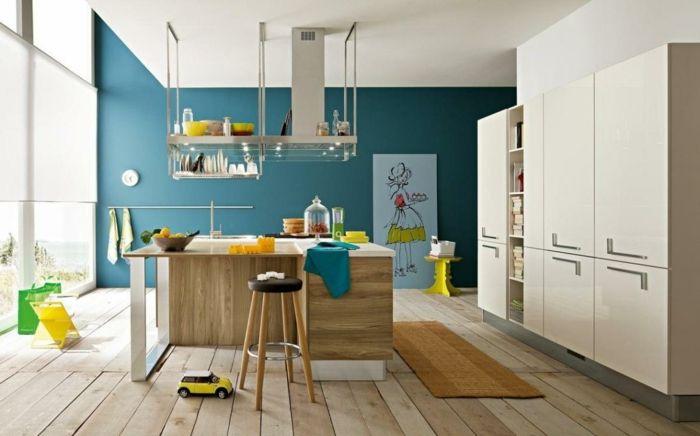 wandfarbe küche grün farbige bodenfliesen pendelleuchten Küche - kuche blaue wande