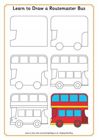 Learn To Draw A London Bus Drawing In 2019 London Drawing Bus