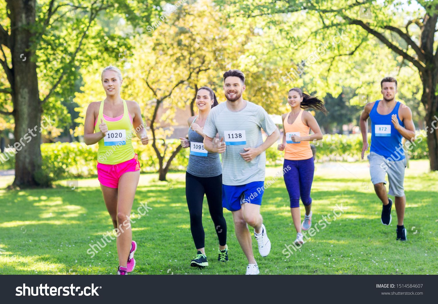 fitness, sport, race and healthy lifestyle concept group
