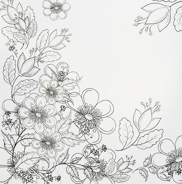 A Really Pretty Page Of Flowers From The Fabulous Flowers Colouring Book For Grown Ups