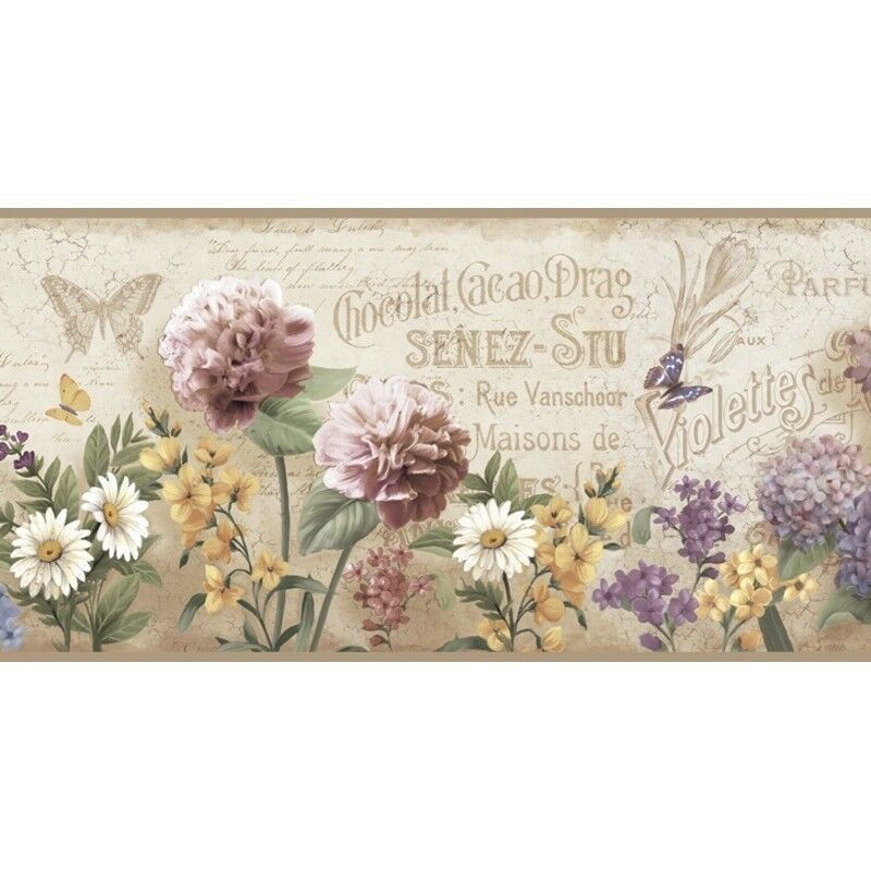 Details about Springtime Border PUR44522B floral country