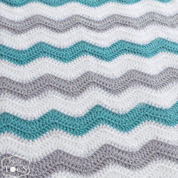 Crochet Chevron Baby Blanket Aqua and Gray Newborn Baby Blanket ...