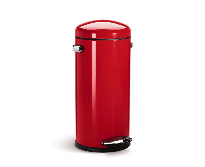 Simplehuman | 30L Red Steel Retro Step Trash Can
