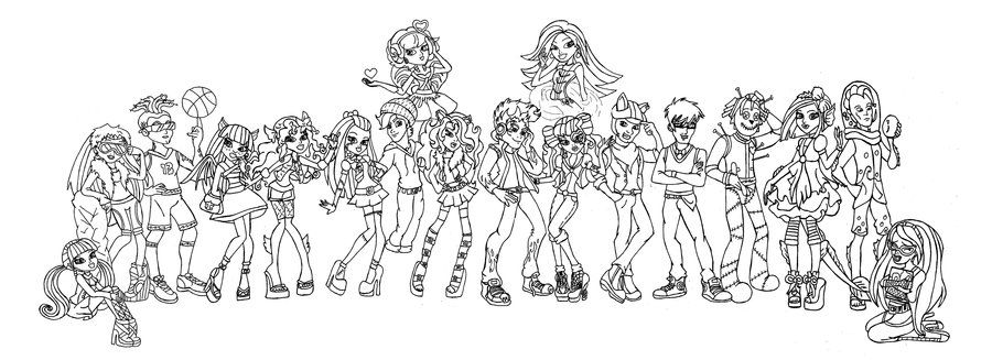 Monster high coloring all together monster high coloring for Monster high coloring pages all characters