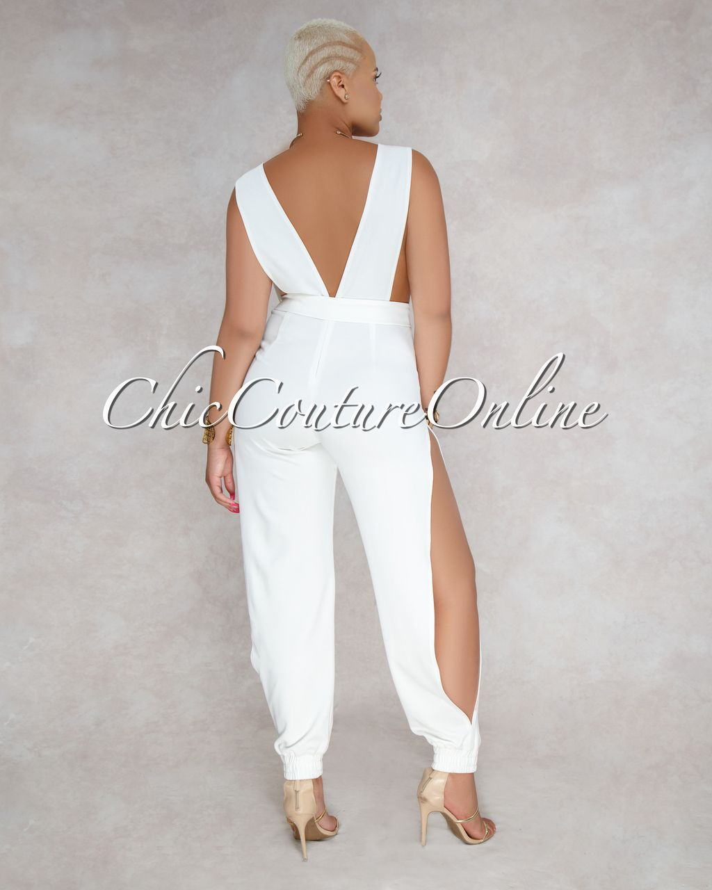 e98742db95a Chic Couture Online - Hiram Off White Cut Out Belted Slit Legs Jumpsuit