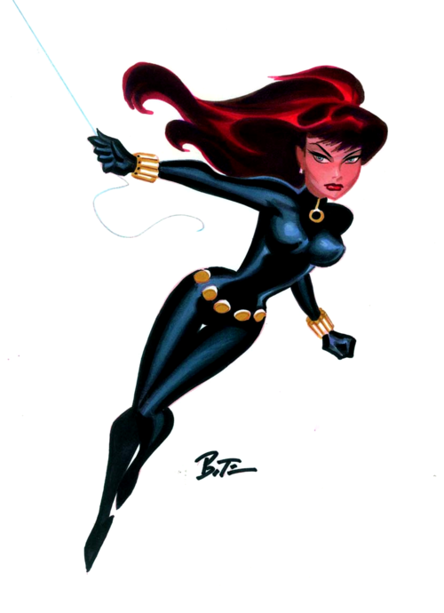 Fashion and Action: The Black Widow - Bruce Timm Art Gallery