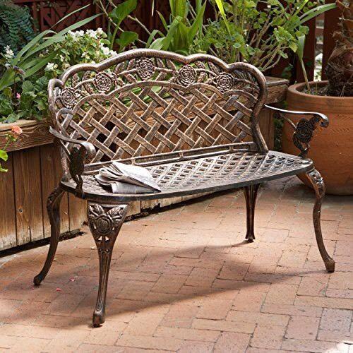 Fantastic All Weather Outdoor Cast Aluminum Outdoor Garden Bench Forskolin Free Trial Chair Design Images Forskolin Free Trialorg