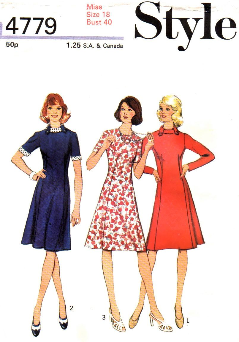 70s A-Line Dress Vintage Sewing Pattern aa8d6b633db