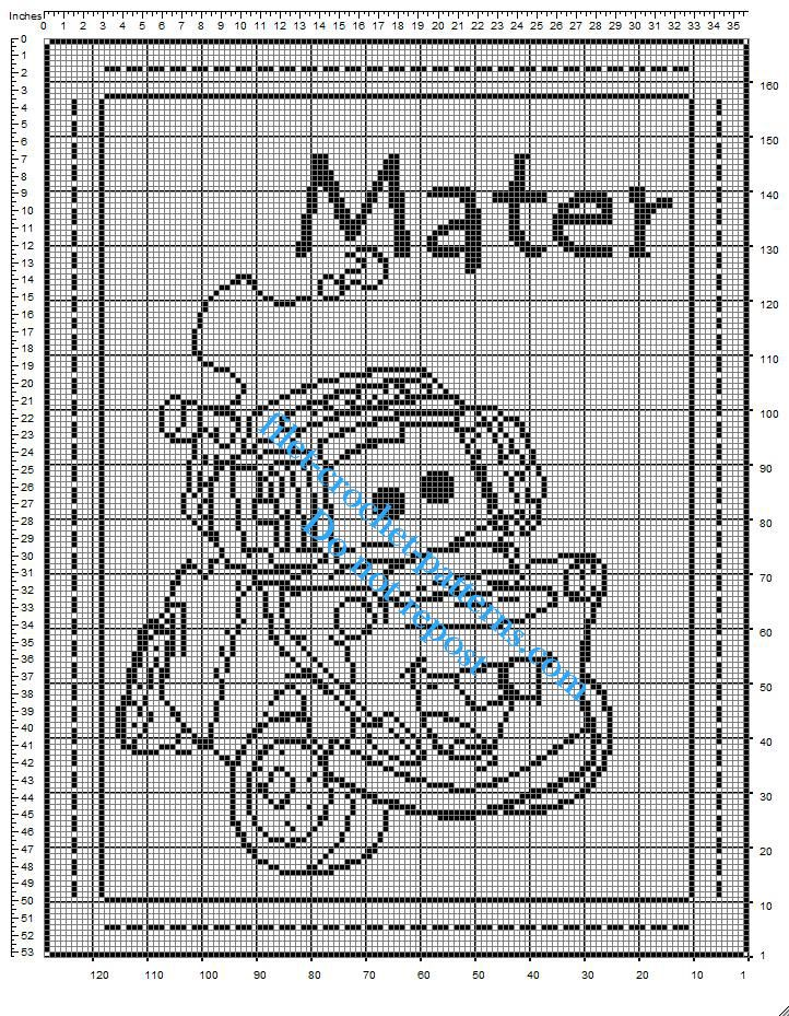 Free crochet filet pattern baby blanket with Disney Cars Mater ...