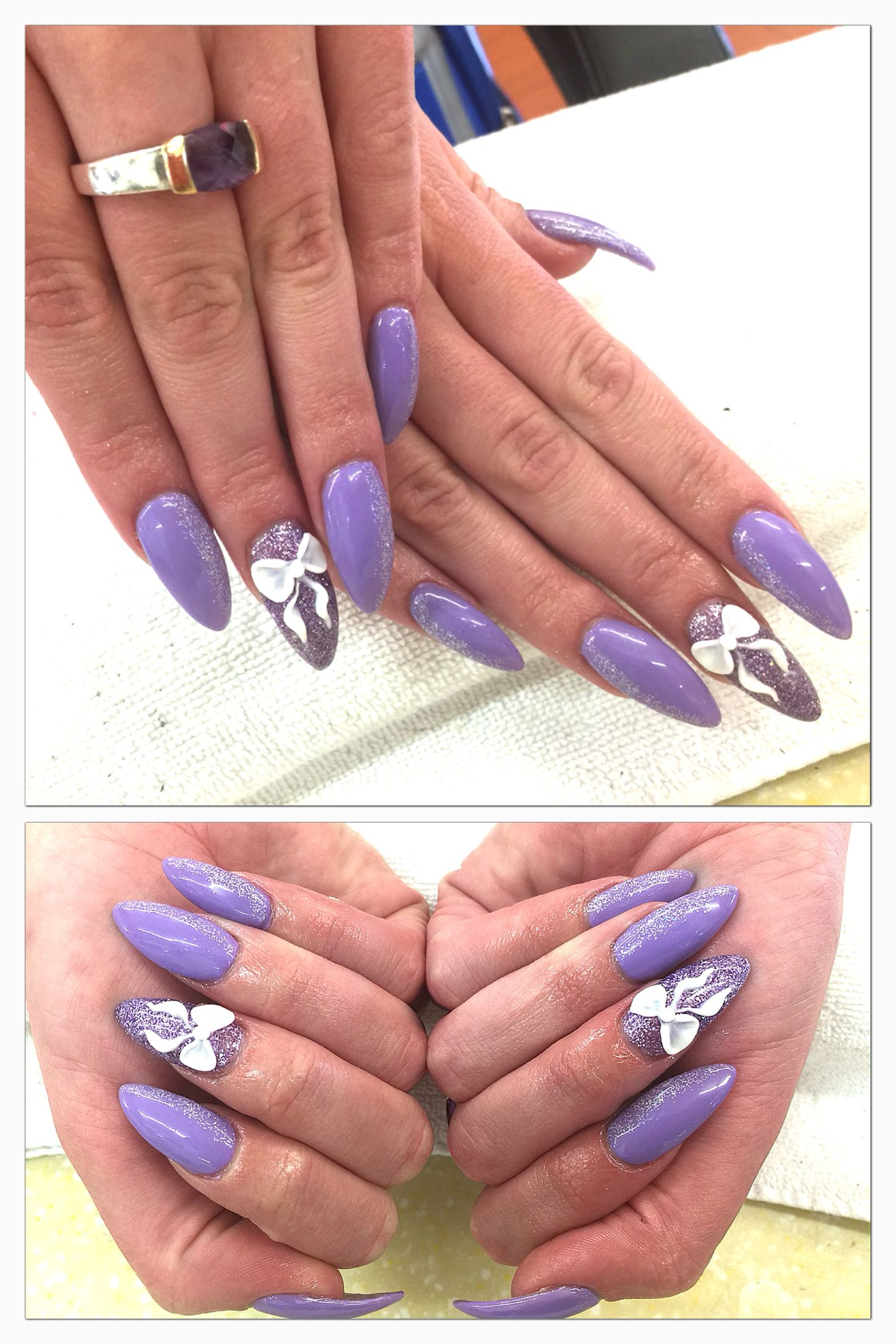 Color: Lavender gel with light glitter accents and deep glitter on ...