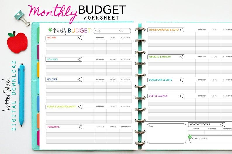 Monthly BUDGET Worksheet // Printable Planner Inserts PDF
