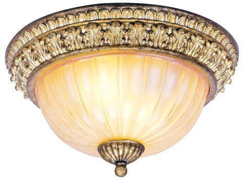 Livex Lighting 8818 65 La Bella Ceiling Mount In Hand Painted Vintage Gold  Leaf