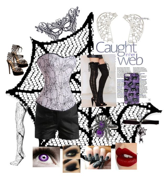 """""""Caught In Her Web"""" by sarahlynnmurphy on Polyvore featuring Heritage Lace, Jeffrey Campbell, T By Alexander Wang, ASOS, Accessorize, Topshop, BCBGMAXAZRIA, Charlotte Olympia and Charlotte Tilbury"""