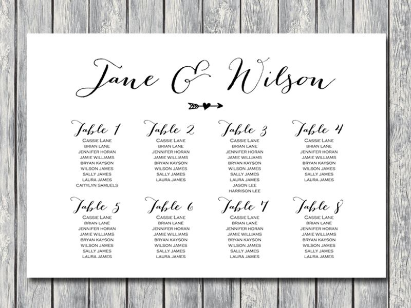 Arrow Wedding Seating Chart Template, Instant Download, Free - free wedding seating chart templates