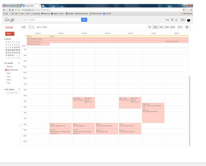 I Utilized Google Calendar To Schedule Out My Weekly Assignments