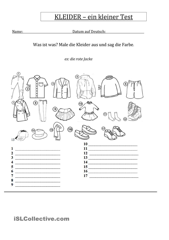 Kleider une Farben - ein Test | Farben, Kleider und Adjektive