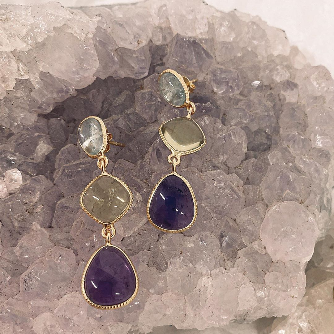 Valley earrings featuring blue topaz, green amethyst and amethyst set in gold plated sterling silver. . . .  #sydney #bianc #bianccollection #australianjewellery #australianjewellerydesigner #jewelleryinspo #australianjewellerybrand #biancjewellery #onlineshoppingaustralia #jewelleryonline #sterlingsilverjewellery #madeinturkey #semipreciousstone #jewellerycollection #semipreciousstones  #sterlingsilverjewelery #semipreciousjewellery #jewellerydesigner #weddingjewellery #instajewellery #jeweller