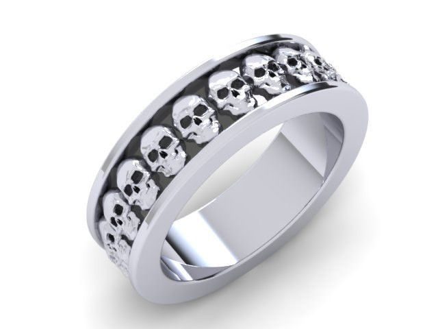 Mens or Womens Skull Wedding Band Solid 14k Gold UDINC03278mm