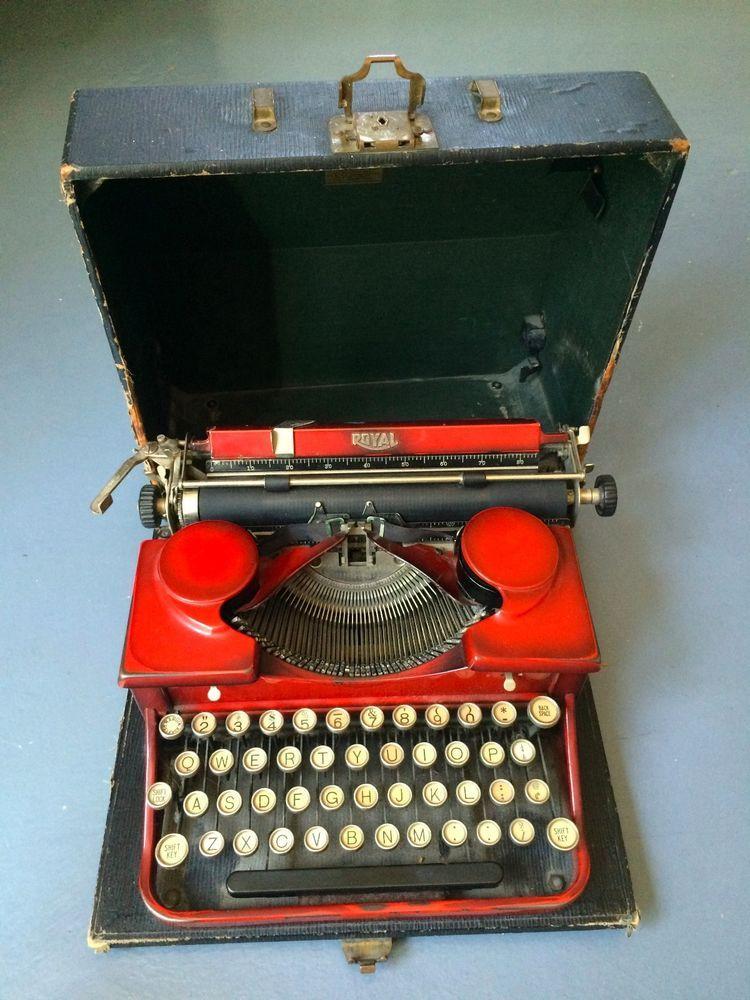 Vintage Royal Portable Typewriter Part - 20: Vintage Royal Portable RED Typewriter W/Case Glass Keys Works Great