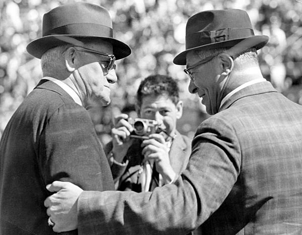 Halas and Lombardi Chicago Bears coach George Halas and Green Bay Packers  coach Vince Lombardi at Lambeau Field in 1964. These two legendary coaches  are ... fc1b5306d