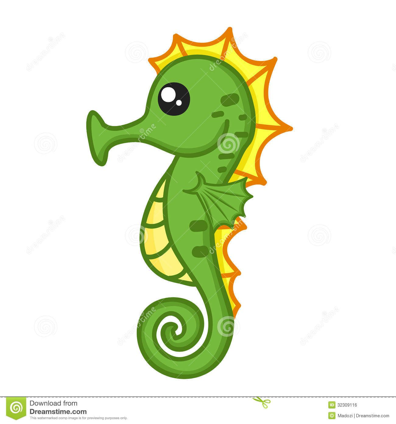 sea horse cute seahorse isolated illustration on white