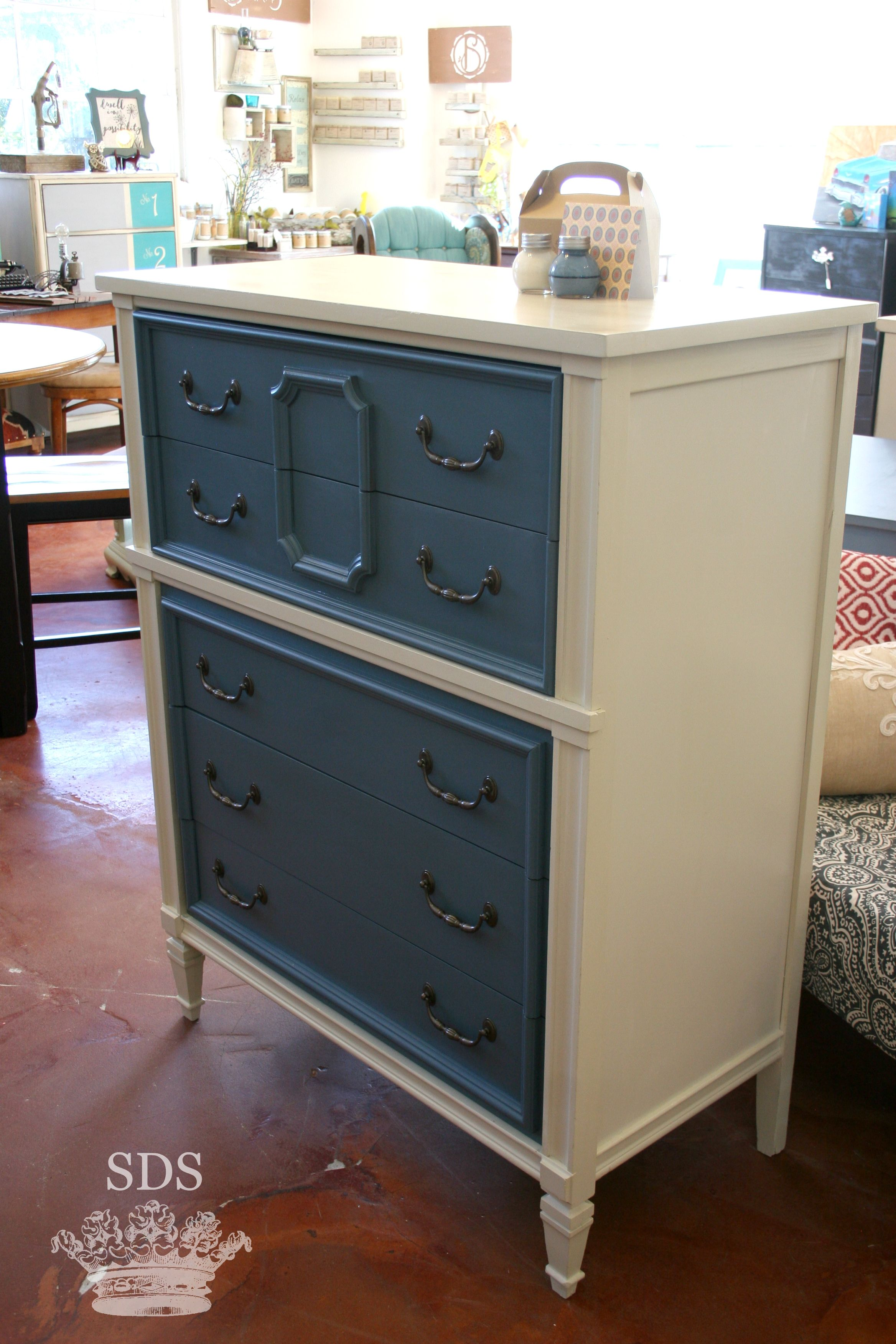 Cream And Blue Dresser. Painted Furniture By Sincerely Danielle Shunk. Boho,  Shabby Chic