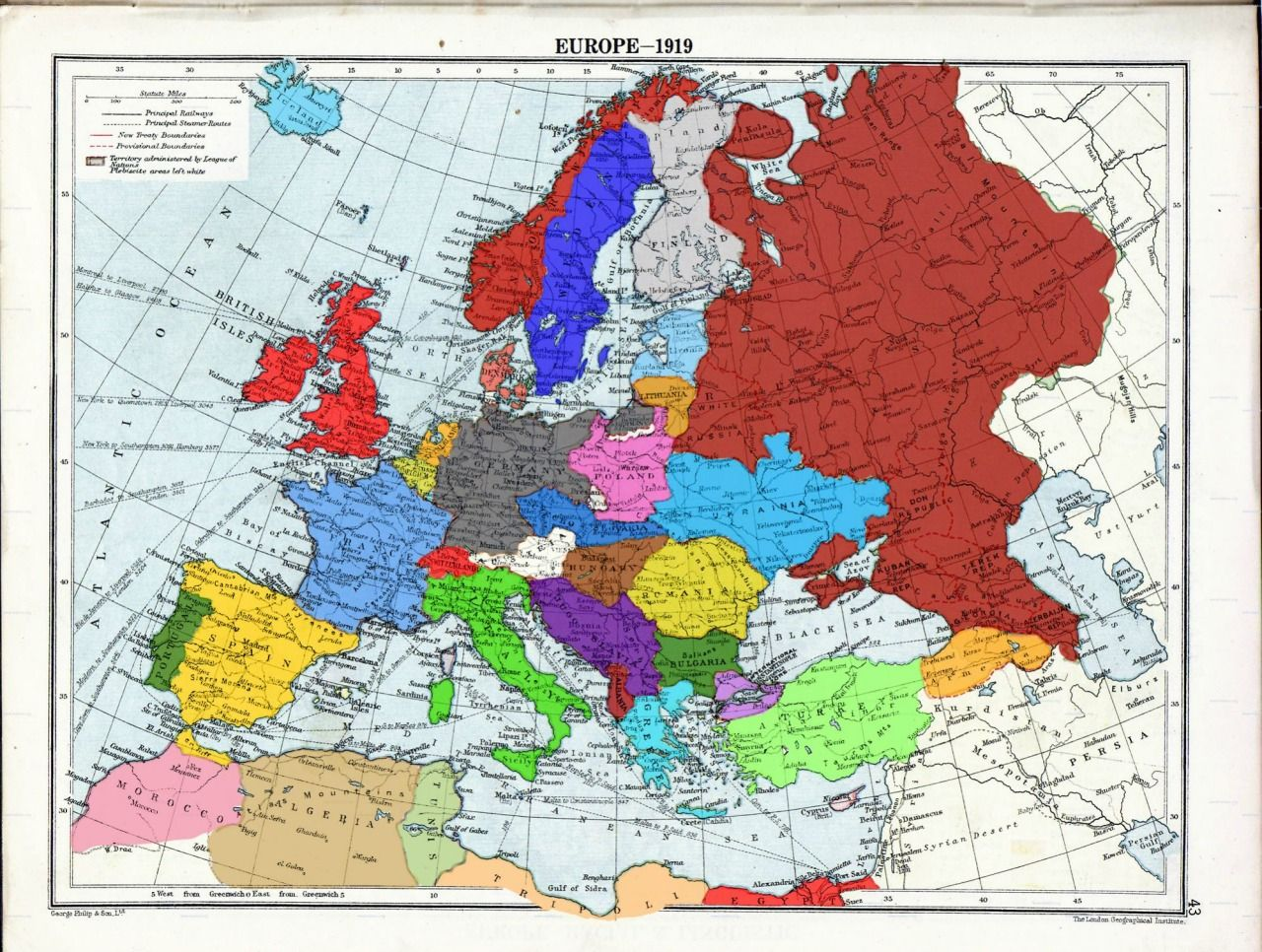 Map Of Europe Post Ww1