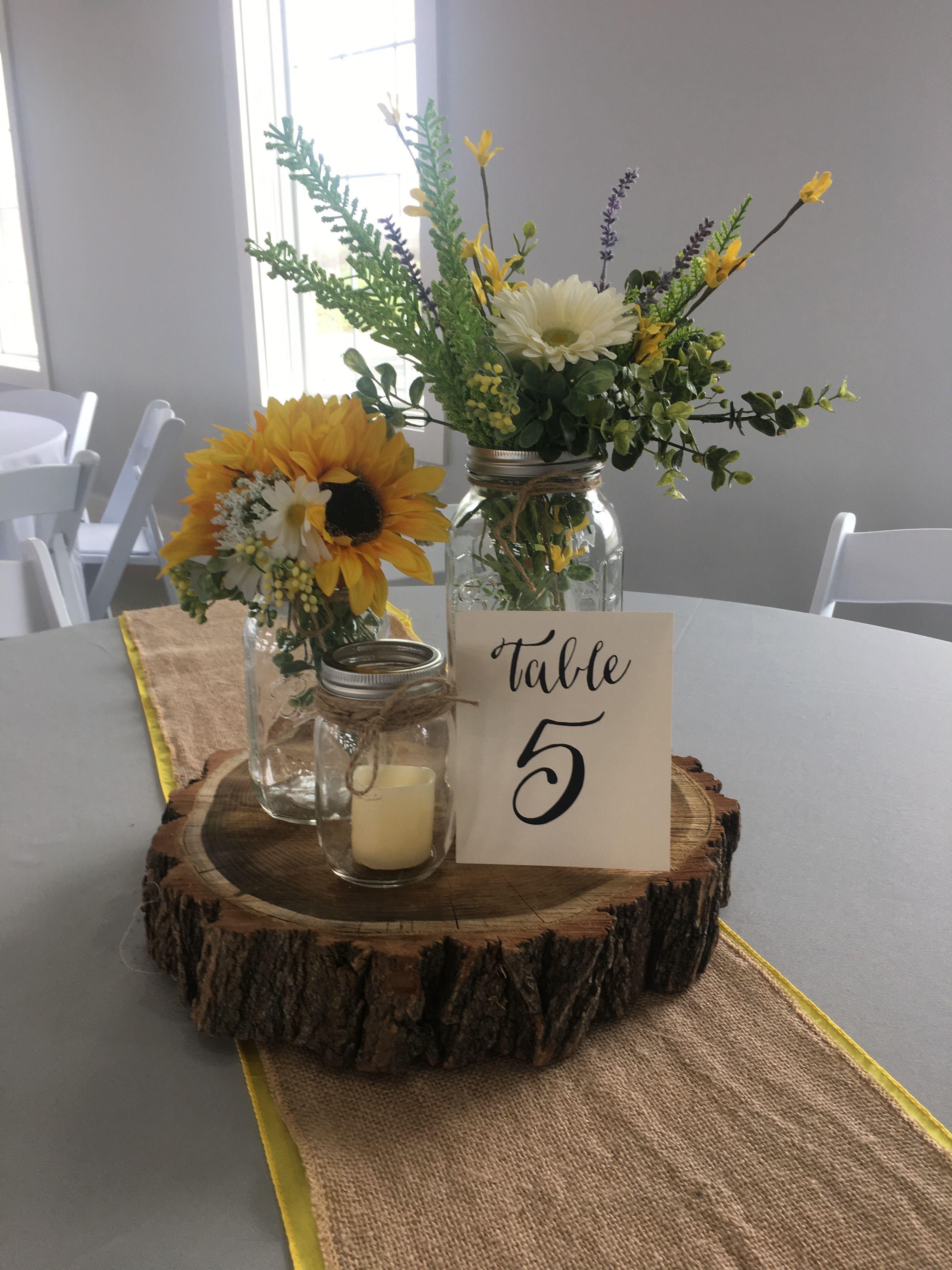 Rustic Centerpiece Using Mason Jars Sunflowers Greenery W Wedding Centerpieces Mason Jars Sunflower Wedding Centerpieces Sunflower Wedding Decorations