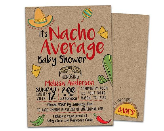 Nacho Average Baby Shower Invitation - Boy Fiesta Baby Shower Invitations - Kraft Taco Baby Shower Invite - Nacho Average Shower Boys