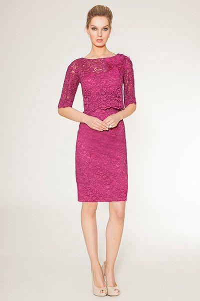 Teri jon lace dress in blush color