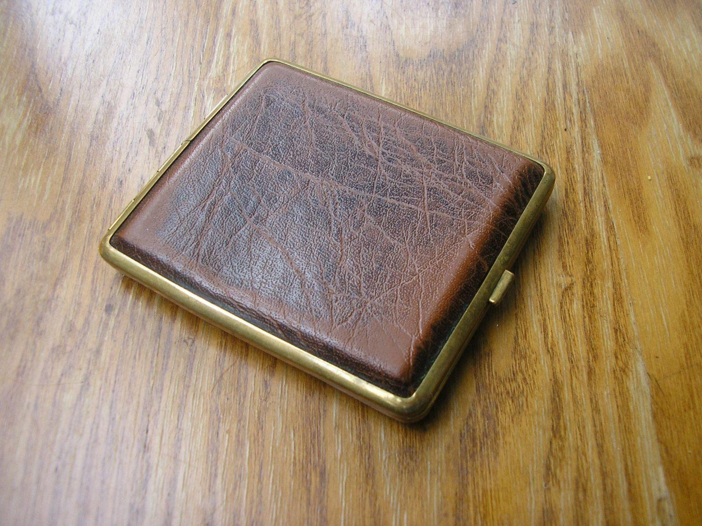 Vintage faux leather cigarette case box business card case brass ...
