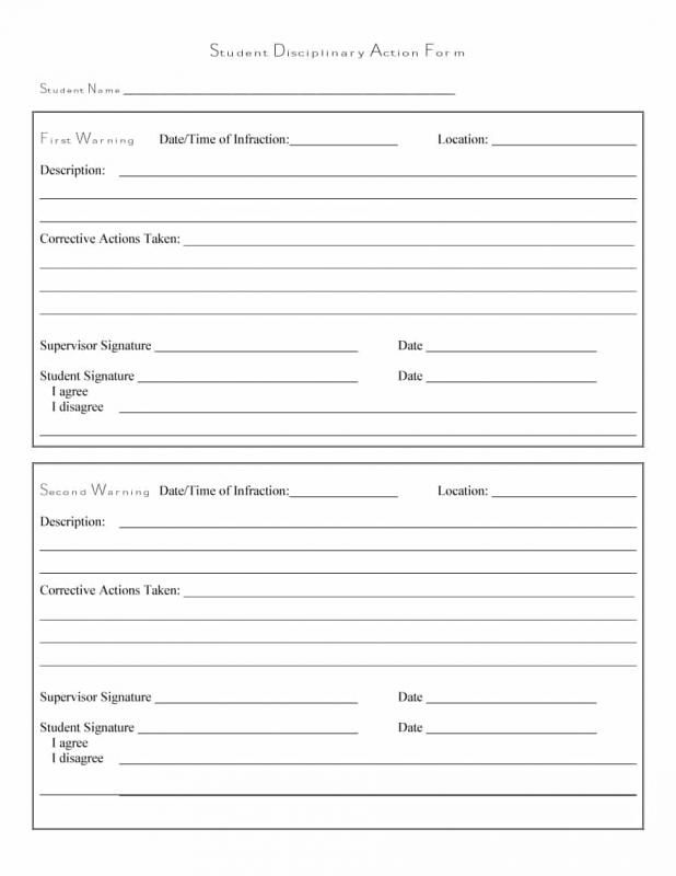 disciplinary action form template template pinterest templates