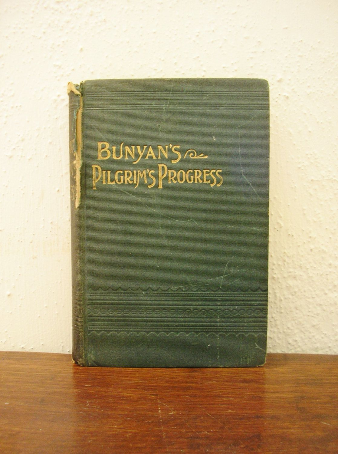 Antique Edwardian book Pilgrim's Progress John Bunyan green