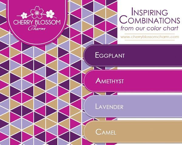 Color Combination purple color combo - eggplant, amethyst, lavender, camel brown