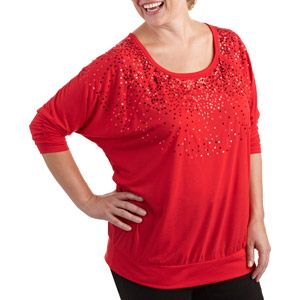 b0a586f86af0 Faded Glory Women's Plus-Size Sequin Knit Top With Banded Bottom ...