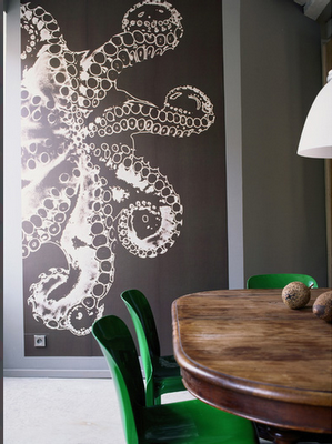 Large scale octopus art wall.