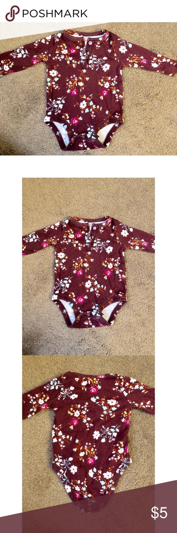 732154527 Burgundy long sleeve floral onesie for babygirl 3m Carter's burgundy long  sleeve onesie. Brand:
