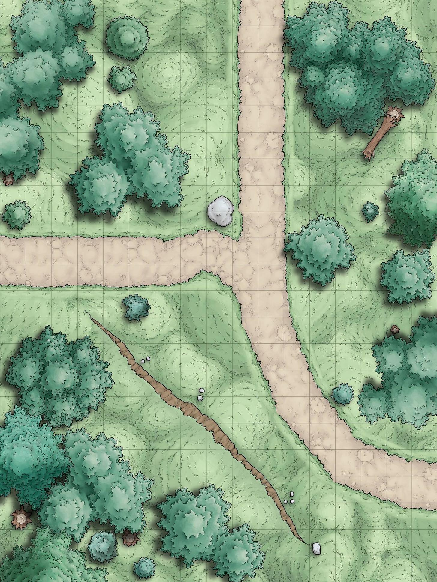 Deciduous forest Road e, n, w, hills Random Encounter Battle Maps - Album on Imgur