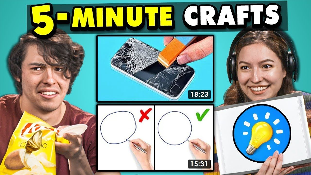 Adults React To And Try 5 Minute Crafts Do They Work Youtube