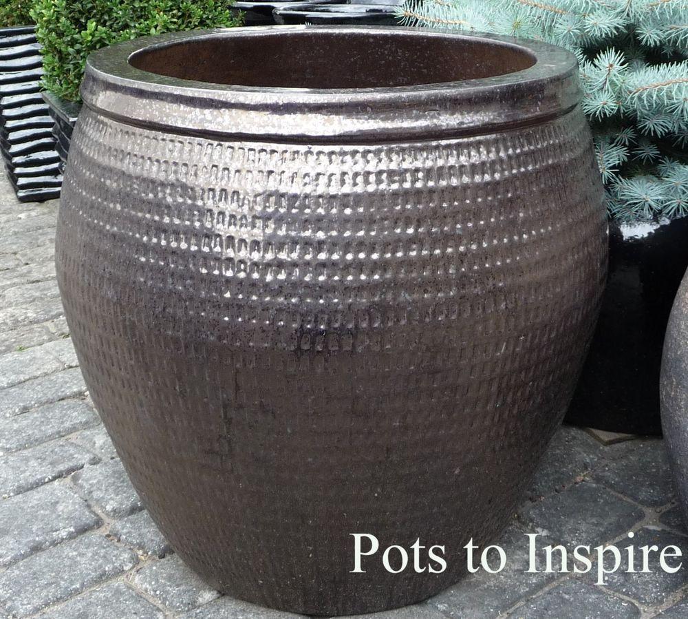 Extra Large Dark Bronze Collar Planter Glazed P*T Planters 400 x 300