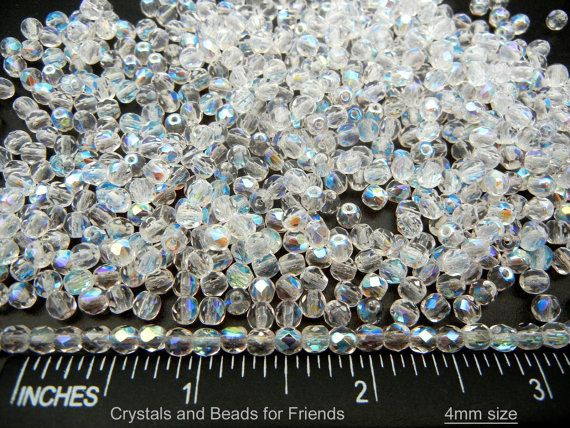 600 Preciosa Czech Glass Fire Polished Round Beads 4mm Crystal Oceanic Luster