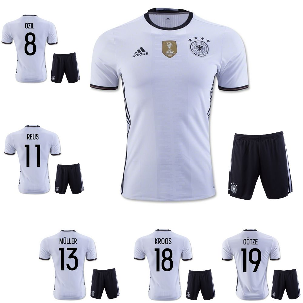 70e446359d6 ... youth 159111 germany home soccer kit jersey +shorts kids enfants ozil  muller kroos gotze