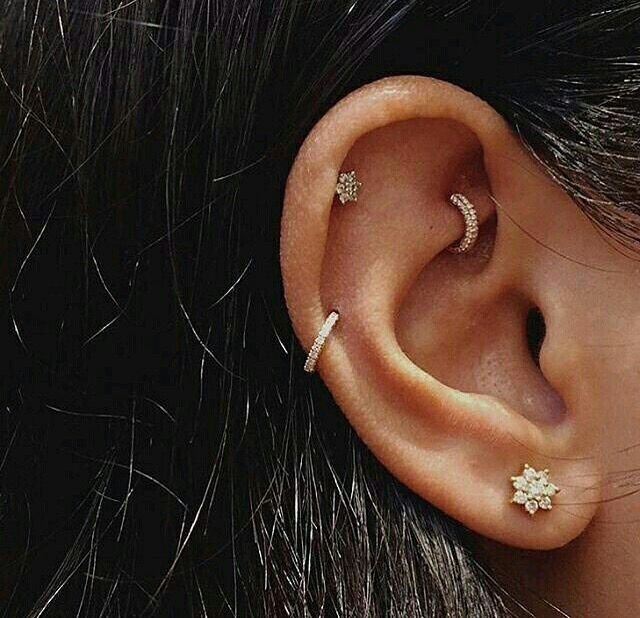 Rook Auricle Helix Lobe Gold Diamond Jewelry Aditi000 More Cool Piercings