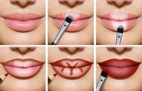 Los labios carnosos forman áreas oscuras, brillantes y rojas # belleza # maquillaje – Maquillaje | Dessertpin.com