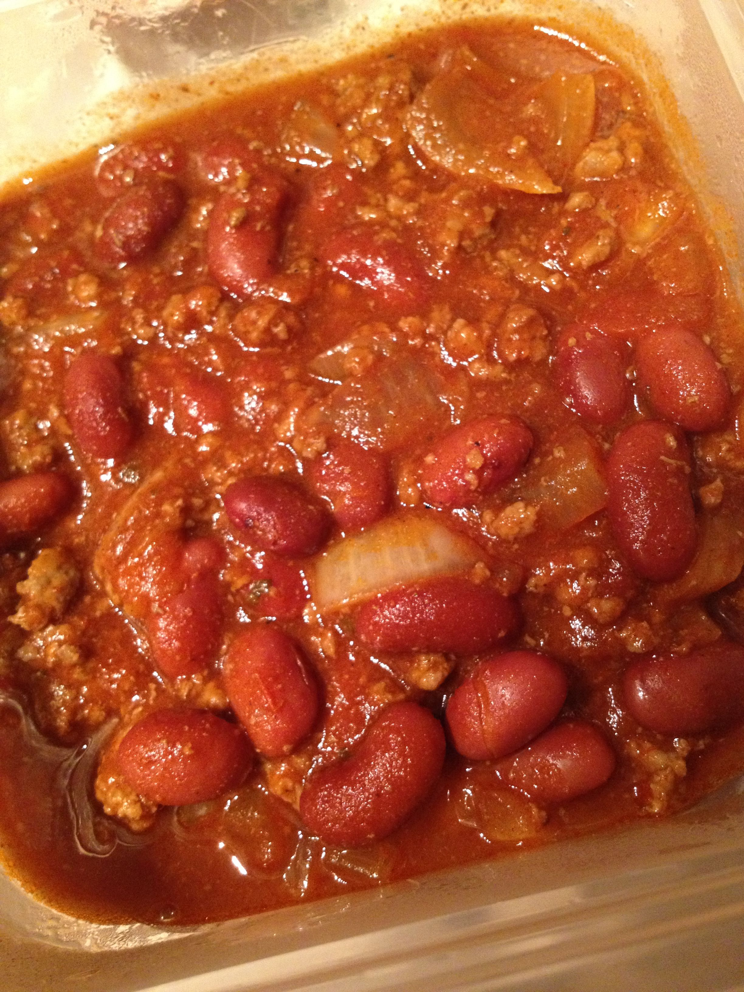 1 1 2 Lean Ground Beef 2 Can Red Kidney Beans Rinsed 1 Can 16 Oz No Salt Added Tomato Sauce 1 1 2 Cups Salsa 1 Onion 2 Bean Recipes Food Red Kidney Bean