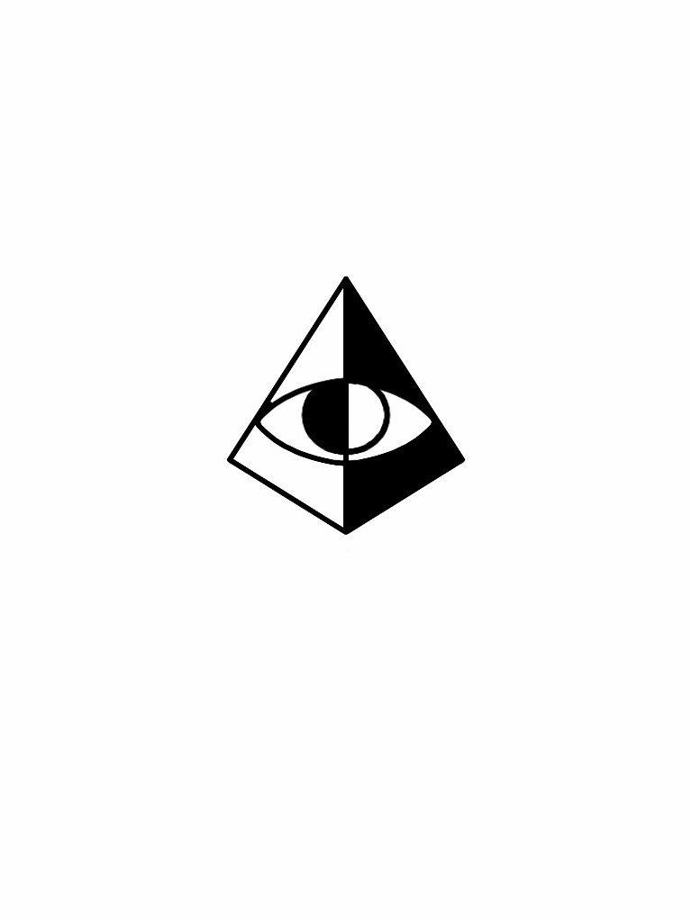 minimal third eye pyramid tattoo flash design flash