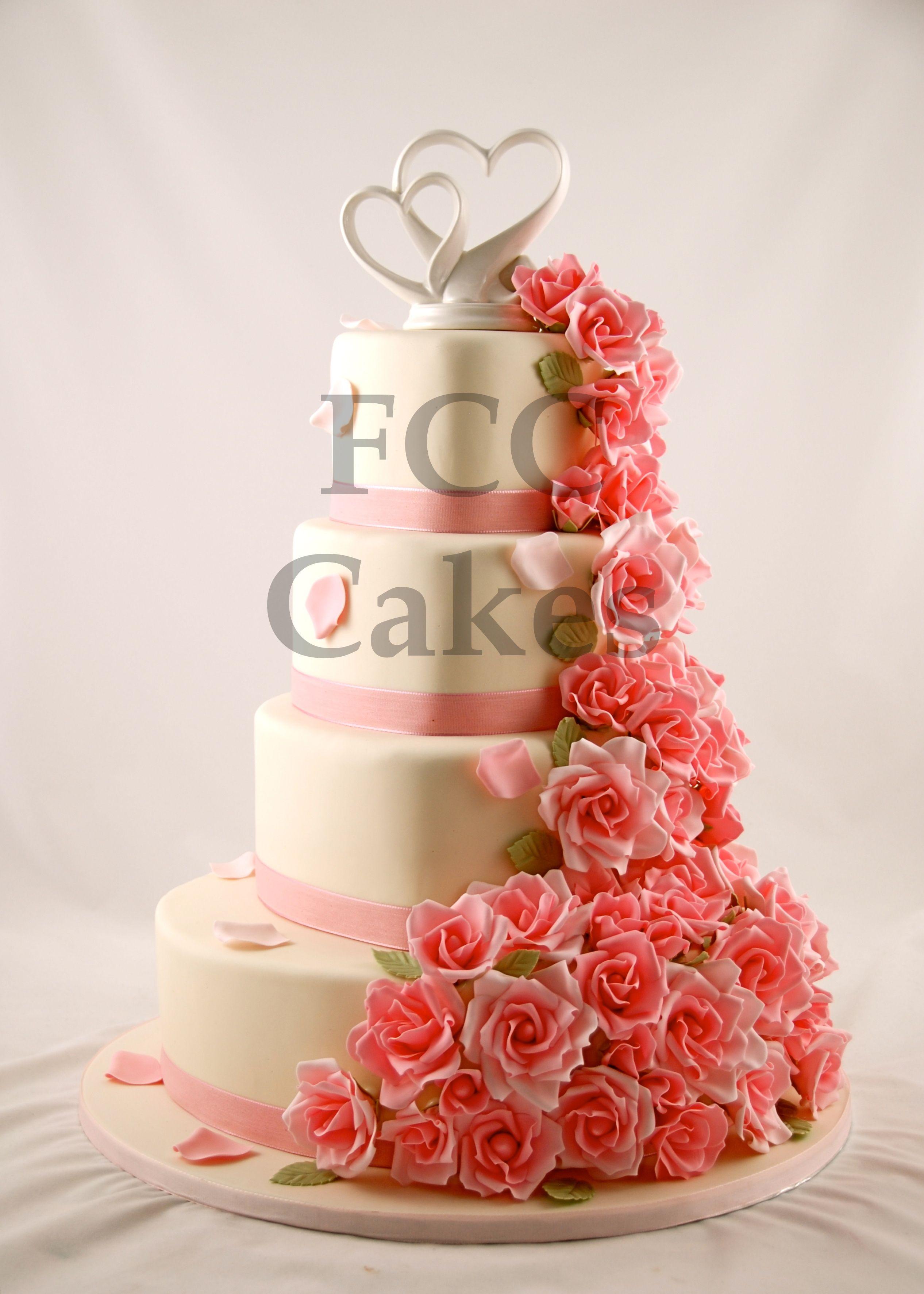 Wedding cake pink flowers piece montee mariage fleurs for Piece montee decoration