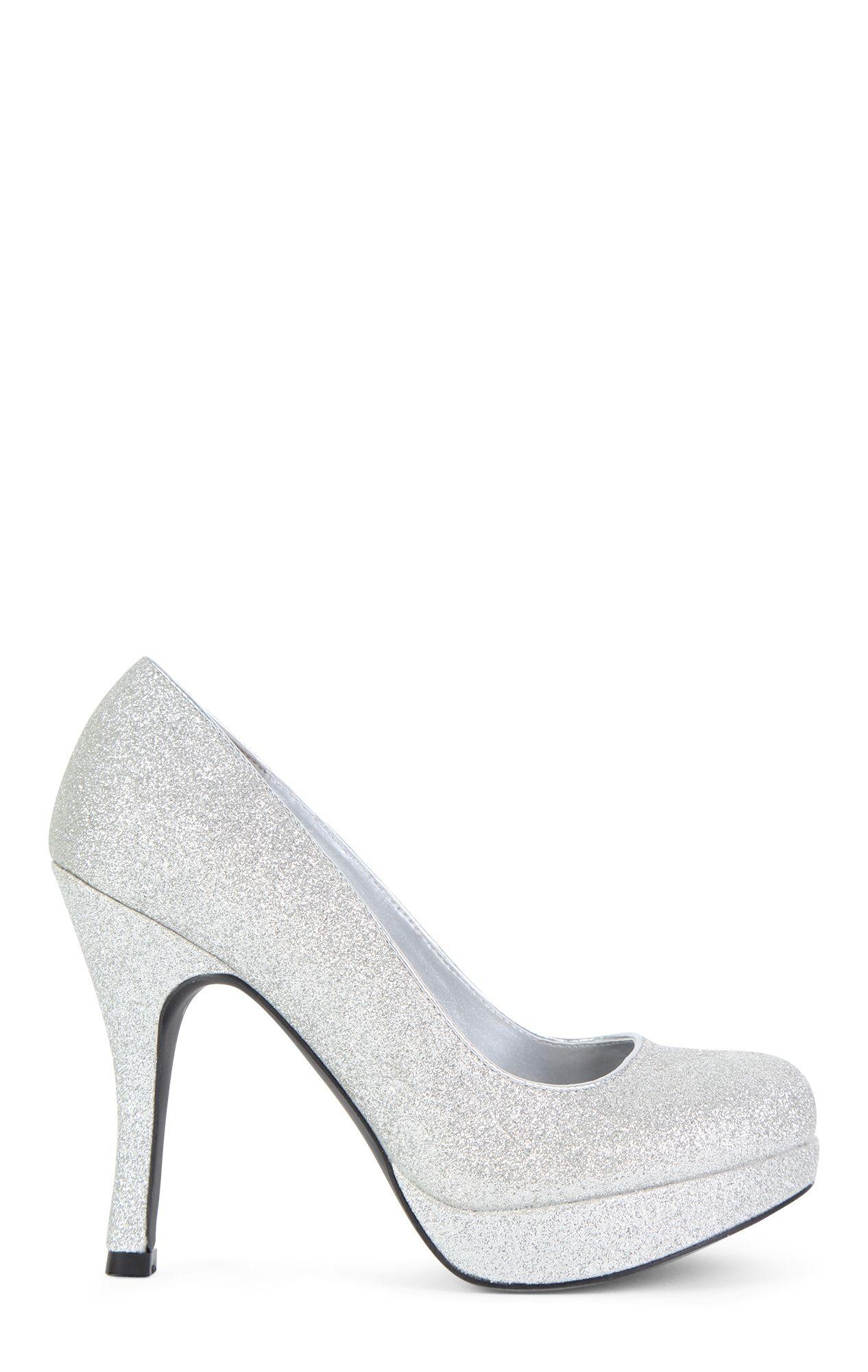 c7573e2d315 SugarPair Silver Glitter Low Platform High Heel $25.20 | Play Dress ...