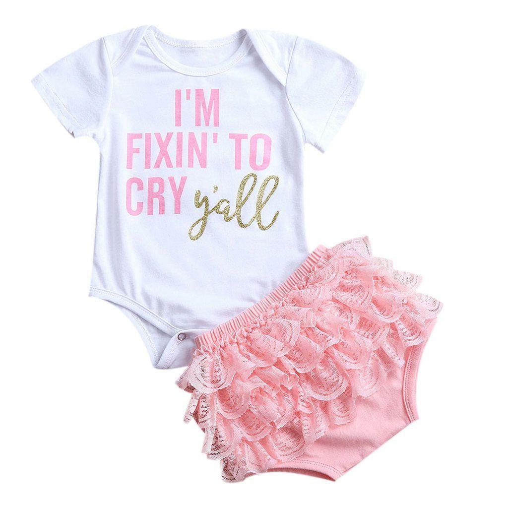 2Pcs Newborn Infant Baby Girls Outfits Romper Jumpsuit Bodysuit Lace ...