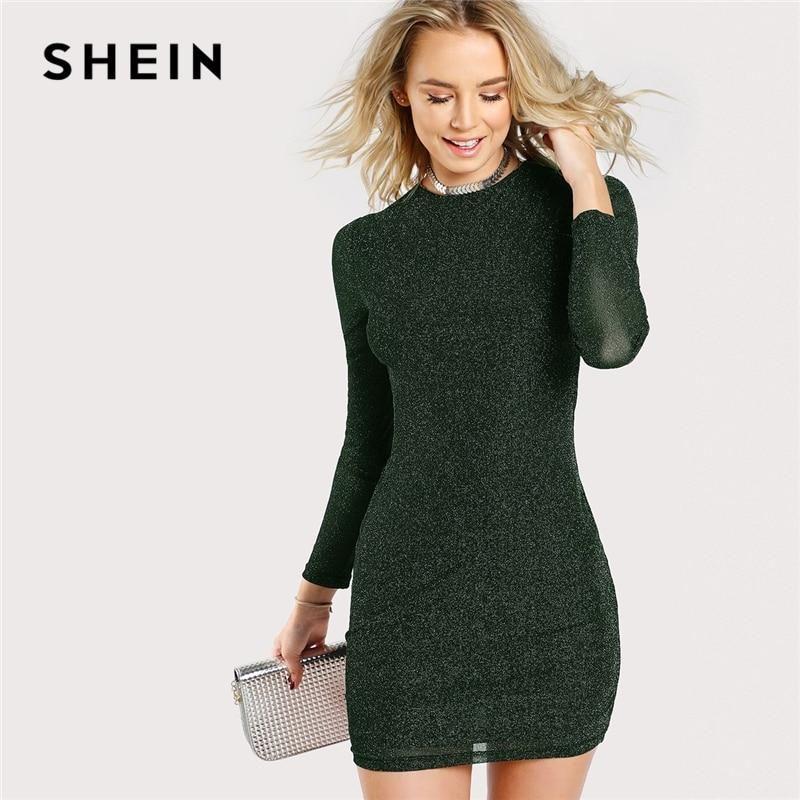 SHEIN Army Green Office Lady Elegant Glitter Form Fitting Long Sleeve Party  Pencil Dress Autumn Modern Lady Women Dresses c782802a1af1